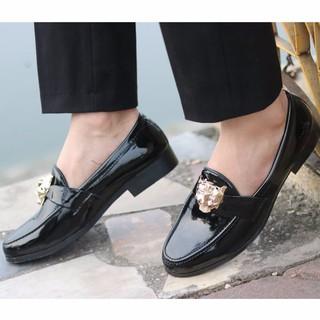 Giày lười giày mọi nam da bóng kiểu dáng hàn quốc đai hổ báo vàng ( Chất Store )