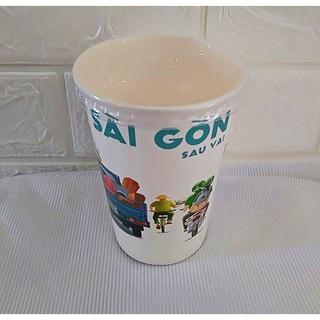 50 Ly Giấy In Hình Sài Gòn 14oz 360ml Có Nắp Ly giấy cafe Ly giấy đựng cà phê Cốc giấy Cốc giấy đựng cafe thumbnail