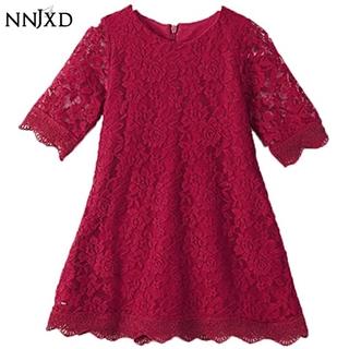 NNJXD Đầm Công Chúa Phối Ren Cho Bé Gái 2-7 Tuổi