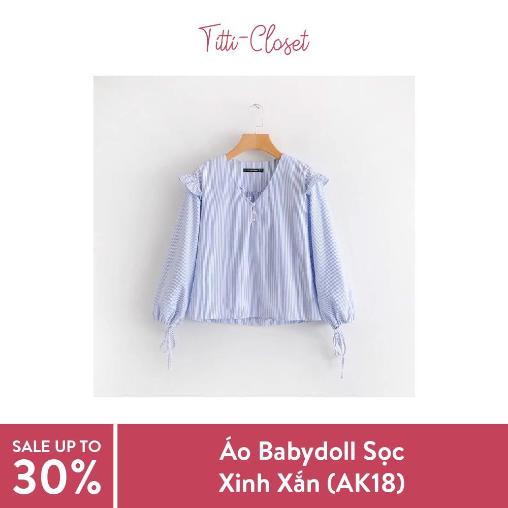 Áo Babydoll Sọc Xanh Tay Nơ (AK18)