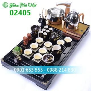 【Hàng có sẵn】Bàn trà điện thông minh đầy đủ Khay bàn, ấm chén, bếp pha trà thông minh inox 304 bản 2020 mã 02405