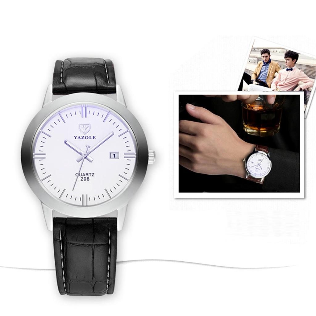 Đồng hồ nam YAZOLE - Dây da - Có lịch ngày - Phiên bản doanh nhân - ( Hai màu : Xanh, Trắng )