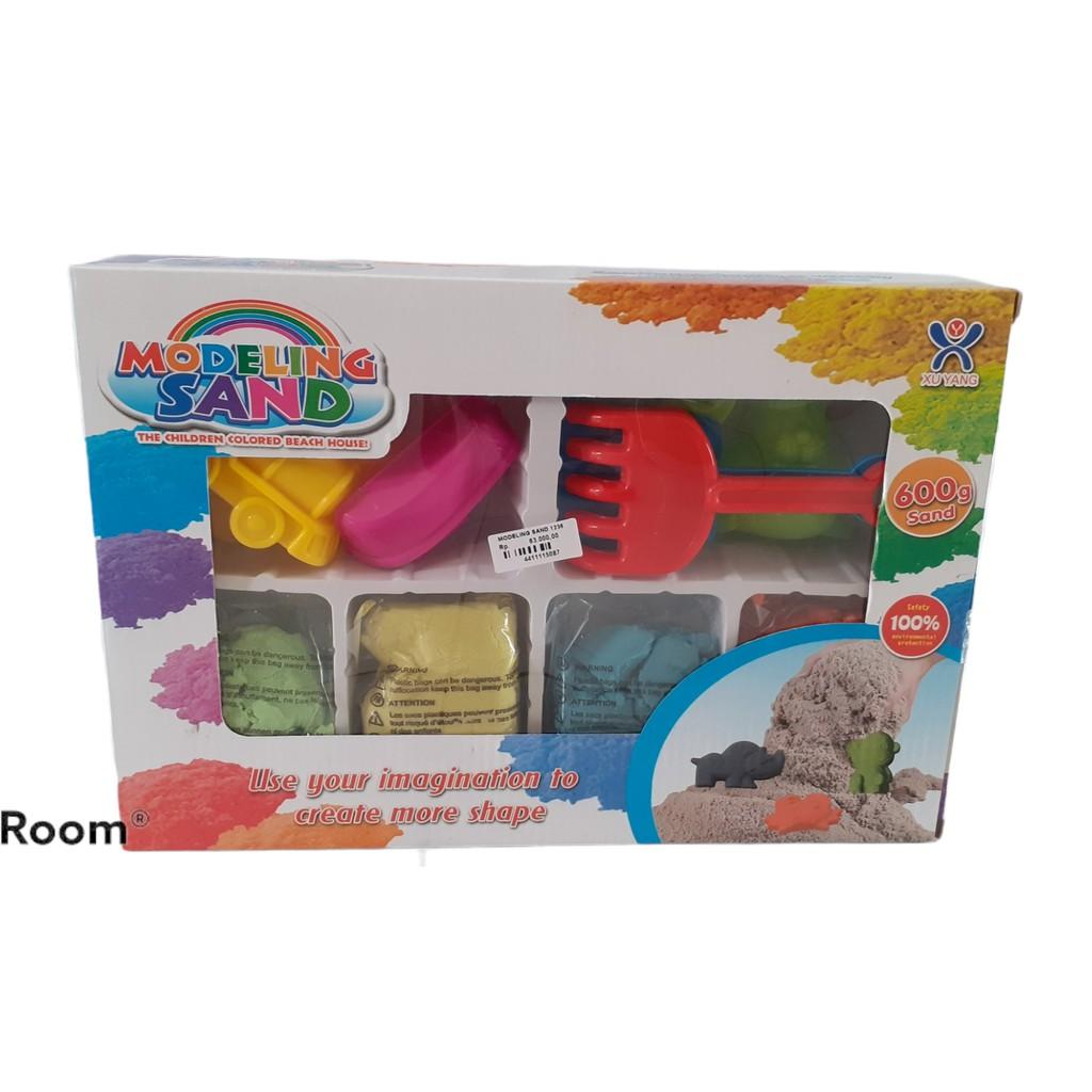 Set 6 Khuôn Làm Bánh Cát Gồm 4 Màu 600g + 1 Xẻng