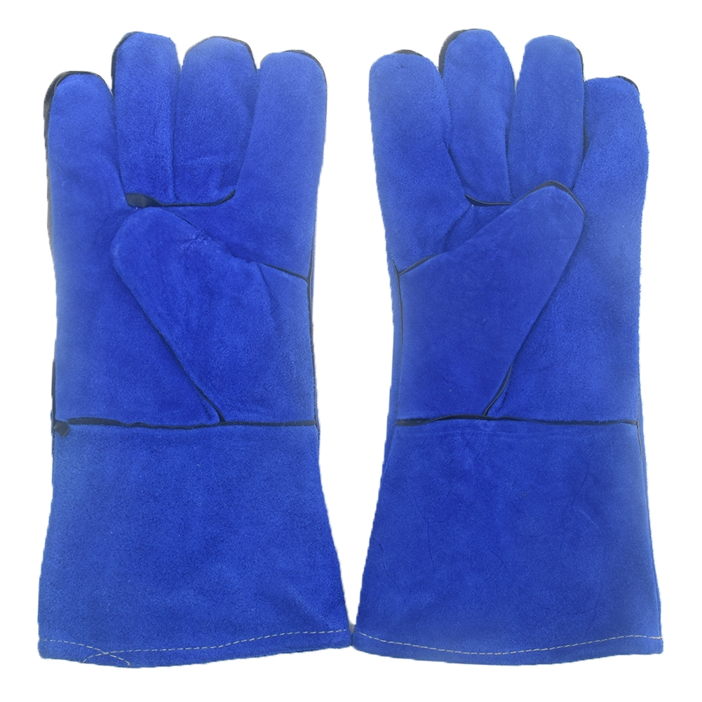 1 Pair 35cm Stove Mitt Oven Work Protective Grill Lined Welding Gloves Heat Insulation Anti-scald Wear-resistant Leather
