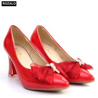 Giày cao gót 7P da bóng đính nơ Rozalo R5871 thumbnail