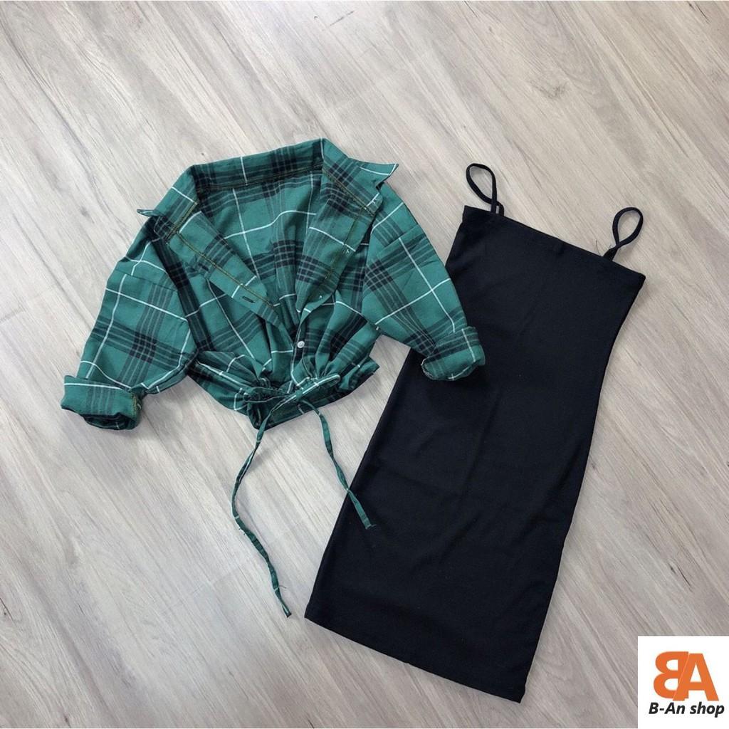 Đầm body 2 dây kèm áo sơ mi caro_set đầm nữ
