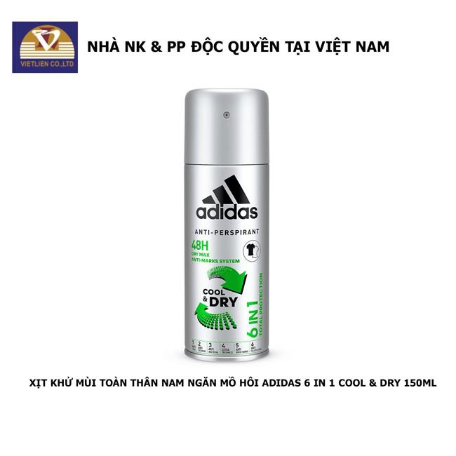 Xịt Khử Mùi Toàn Thân Nam Ngăn Mồ Hôi Adidas 6 in 1 Cool & Dry 150ml - Hàng chính hãng