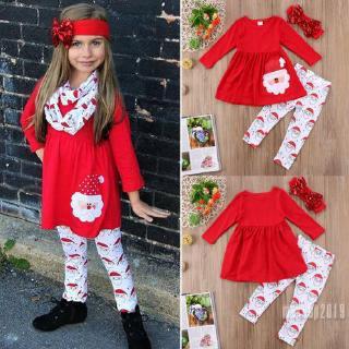Mu♫-Toddler Kid Baby Girls Christmas Outfit Santa Claus Long Sleeve Tops Dress Pants Leggings Clothing Set