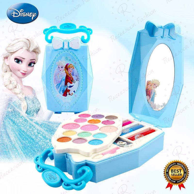 Genuine Disney Makeup Toys Set Kids Cosmetics Kit Girl Pretend Play Beauty Toy Girls Gift Frozen Princess