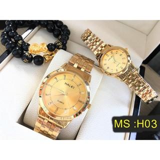 đồng hồ nam nữ đẹp halei mặt vàng HL615 chống nước chống xước,tặng kèm vòng tì hưu