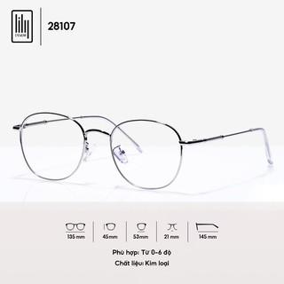 Hình ảnh [Mã FARSBR22A giảm 10% đơn 99k] Gọng kính cận nam nữ Lilyeyewear mắt tròn chất liệu kim loại phụ kiện thời trang 28107-2