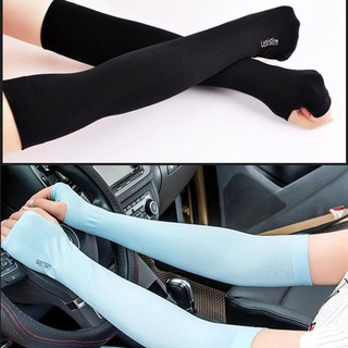 Găng tay chống nắng xỏ ngón Aqua-X Hàn Quốc - Bao tay đi phượt Letslim Siêu Mát chống tia UV - Ống tay đi xe máy thumbnail
