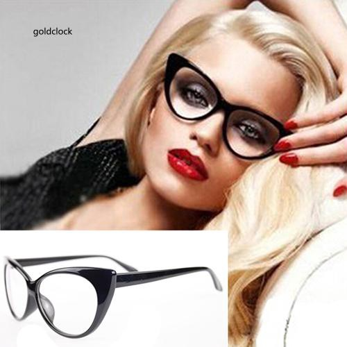 GDCK_Women Classic Sexy Vintage Cat-Eye Shape Plastic Plain Eye Glasses Frame Eyewear