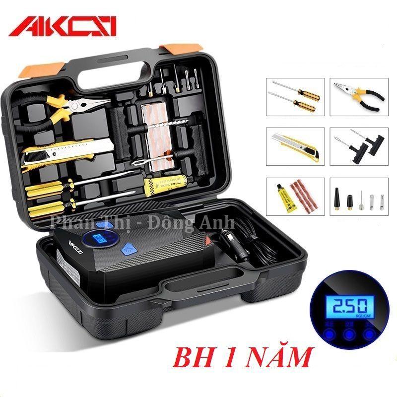 Bơm lốp ô tô, xe hơi điện tử AIKESI - kèm hộp công cụ trọn bộ cứu lốp (BH - 1 đổi 1)