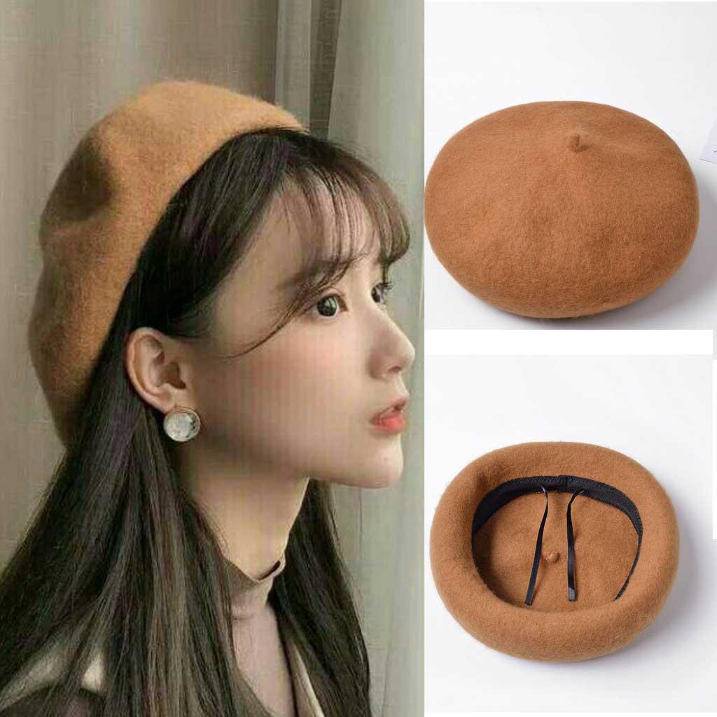 Mũ Nồi Dạ Beret Hàn Quốc 7 Màu (Chỉnh Được Kích Thước + Chất Dạ) - Hàng QC L