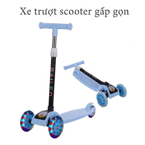 Xe trượt scooter gấp gọn bánh có đèn cho bé