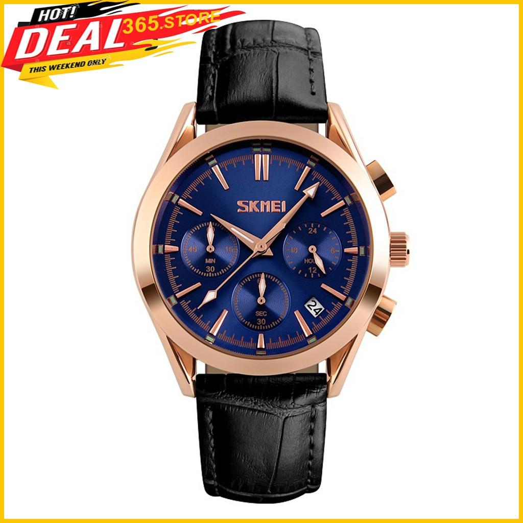 [Chính Hãng] Đồng hồ nam SKMEI 9127, 6 kim dạ quang, dây da chính hãng, phong cách nam tính lịch lãm