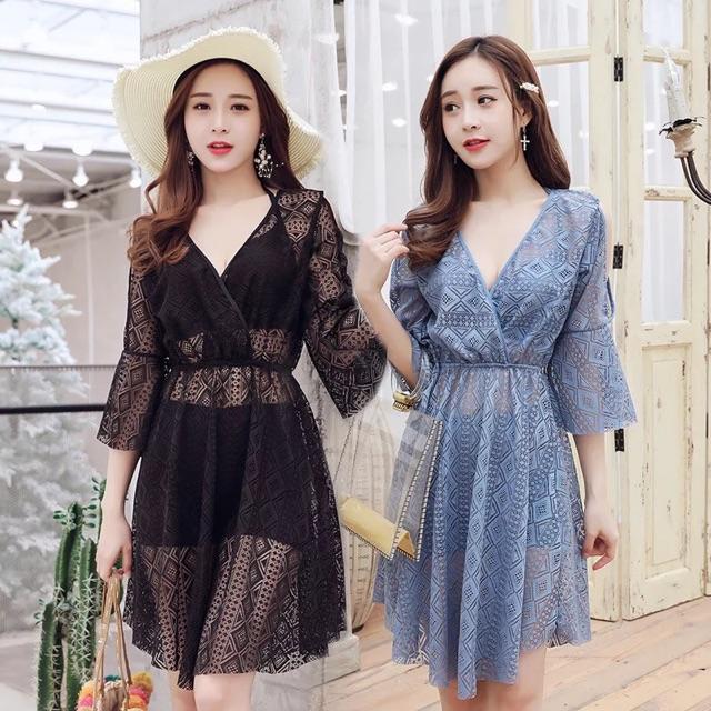 Sale - Set Bikini 3 Mảnh 2019 Ren Choàng Nữ