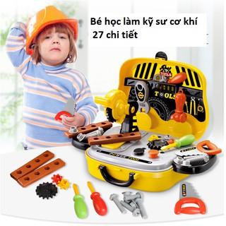 Bộ đồ chơi kỹ sư, hộp hình xe ô tô đi sửa chữa