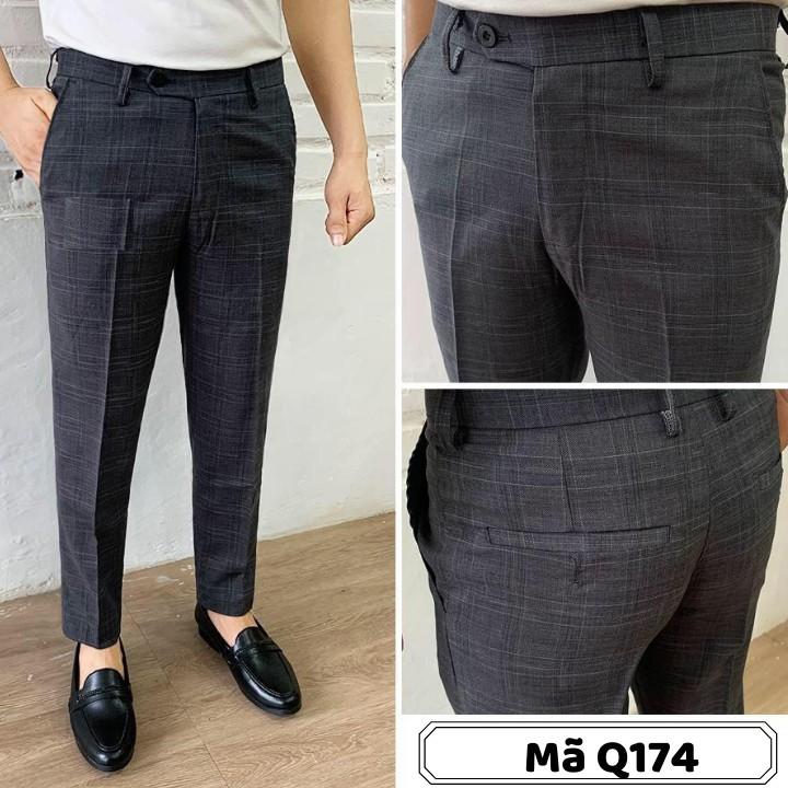 Quần âu nam dáng côn, màu xám kẻ caro sọc nhỏ, vải cotton cao cấp - Mã Q174