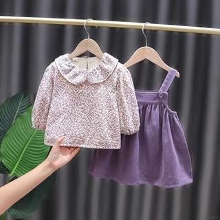 Set Đầm Yếm Họa Tiết Hoa Xinh Xắn Cho Bé Gái 110cm (Xxl)