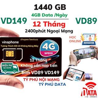 [FreeShip] Sim 4G Vina VD89 VD149 Miễn Phí Data 2GB - 4GB 1 Ngày Và Gọi 12 Tháng Không Cần Nạp Tiền