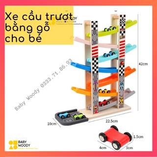ĐỒ CHƠI XE CẦU TRƯỢT BẰNG GỖ 4 tầng + 7 tầng cho bé