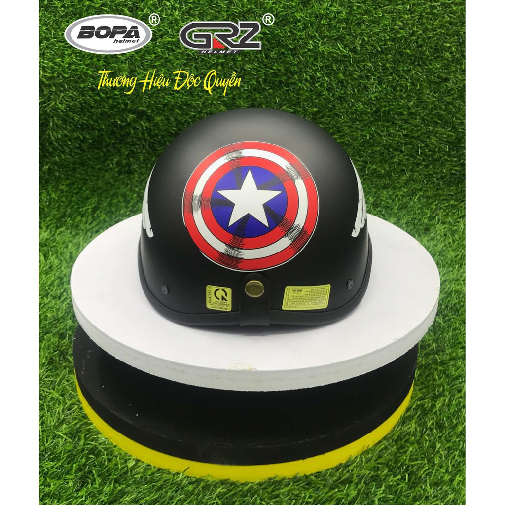 (Kèm Kính) Mũ Bảo Hiểm Rock, Captain,Đen Trơn, Iron Man_ Nón Bảo Hiểm Phượt Nửa Đầu- Mũ bảo hiểm