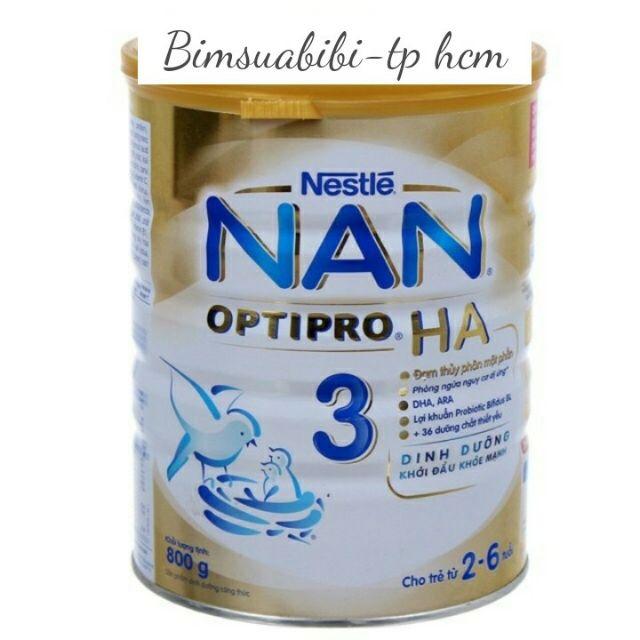 Sữa Bột Nan HA 3, 4Nestle Thụy Sĩ, 2-6 Tuổi, 800g