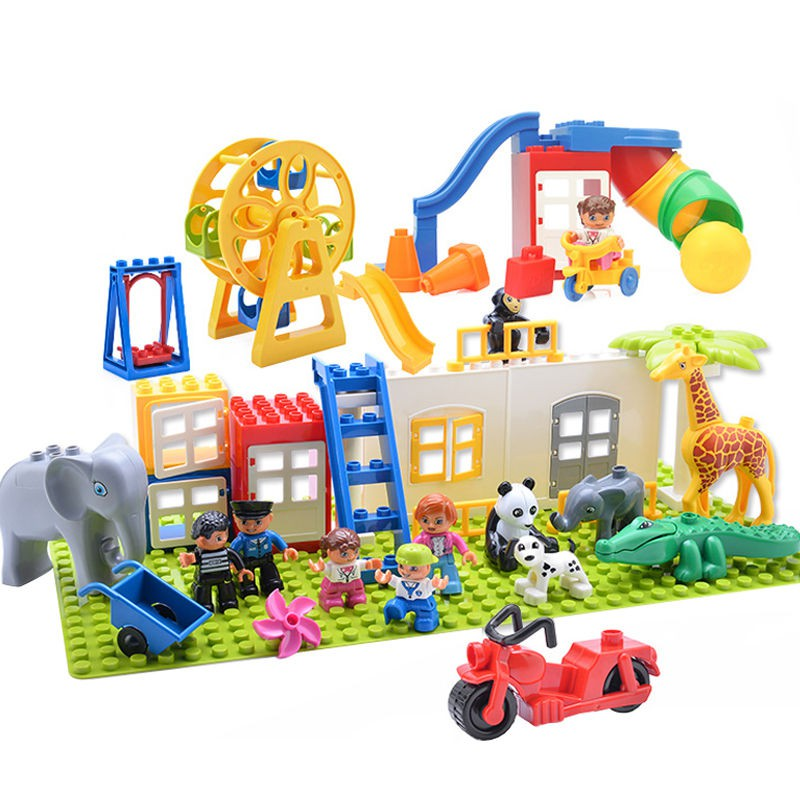 【happylife】Compatible with Lego large particle building block accessory kit, amusement park Ferris wheel swing slide door and window assembly toy parts