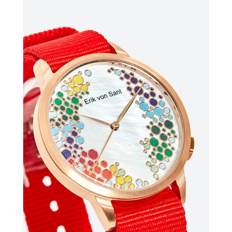 Đồng hồ unisex nam nữ Erik von Sant 003.002.B mặt tròn dây vải màu đỏ 38mm