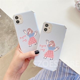 Cartoon Cute Fighting Girl Skin-Friendly Anti-Fall Soft Phone Case Cover for iPhone 11 Pro Max X Xs Xr Xsmax 8 7 Plus Se 2020