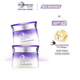 Bộ Bio-Essence Bio-Bounce Kem dưỡng tinh chất tổ yến Collagen 50gr Mặt nạ ngủ Night Mask tinh chất tổ yến Collagen 50g