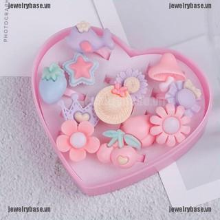 Bộ 12 nhẫn nhựa resin hoạt hình xinh xắn dành cho bé gái có hộp thumbnail