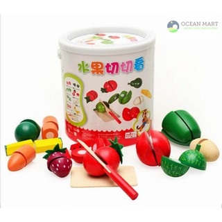 Bồ đồ chơi cắt hoa quả gỗ cho bé siêu bền