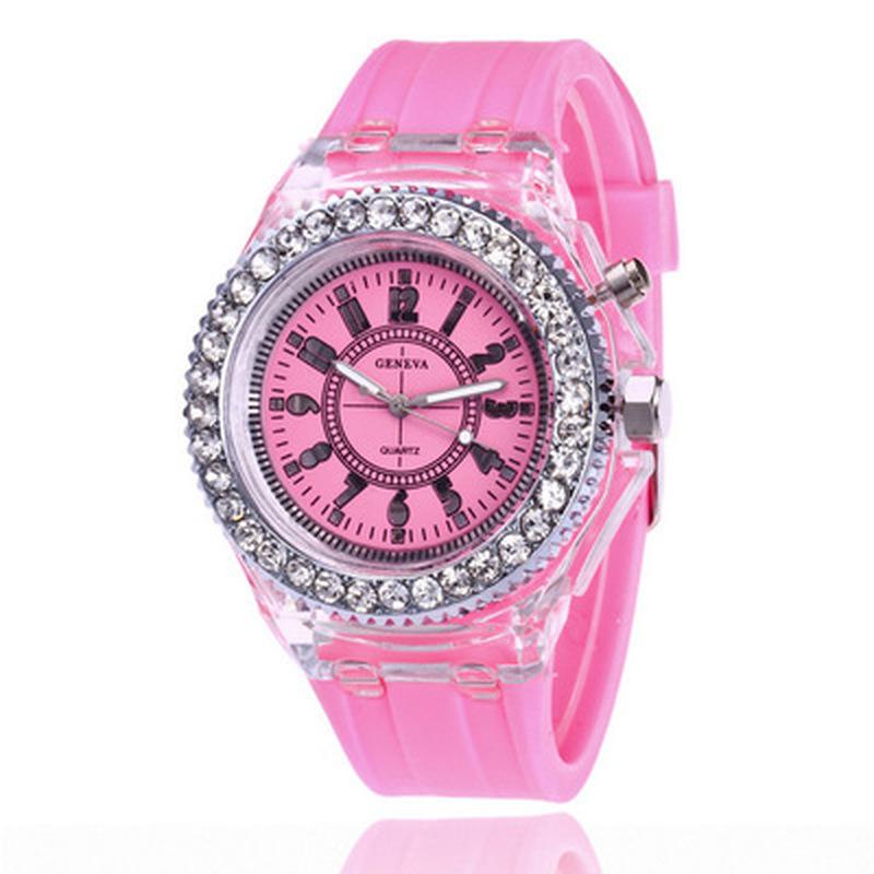 [Men Women Fashion Simple Style Flash Luminous Watches] [Ladies silicone Belt Quartz Watch] [Girls Minimalist Casual Watch]