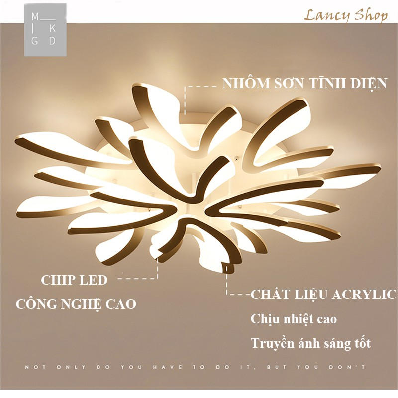 Đèn Ốp Trần Trang Trí Phòng Khách Đèn Led 12 Cánh, 3 Chế Độ Sáng Bảo Hành 12 Tháng VTM
