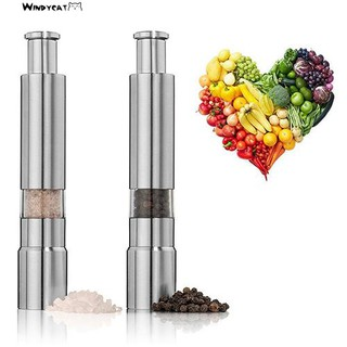 windycat *HOT* Kitchen Stainless Steel Manual Thumb Push Salt Spice Sauce Grinder Pepper Mill