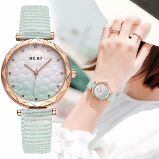 Đồng hồ đeo tay thạch anh dây da màu gradient thời trang cho nữ