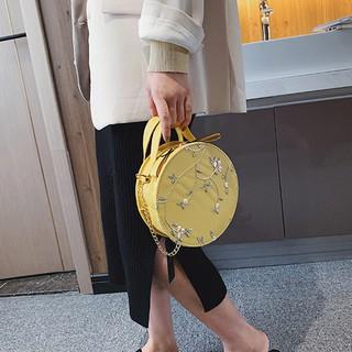 Túi hộp tròn đeo chéo thêu hoa siêu xinh - TXN47, túi xách thời trang nữ