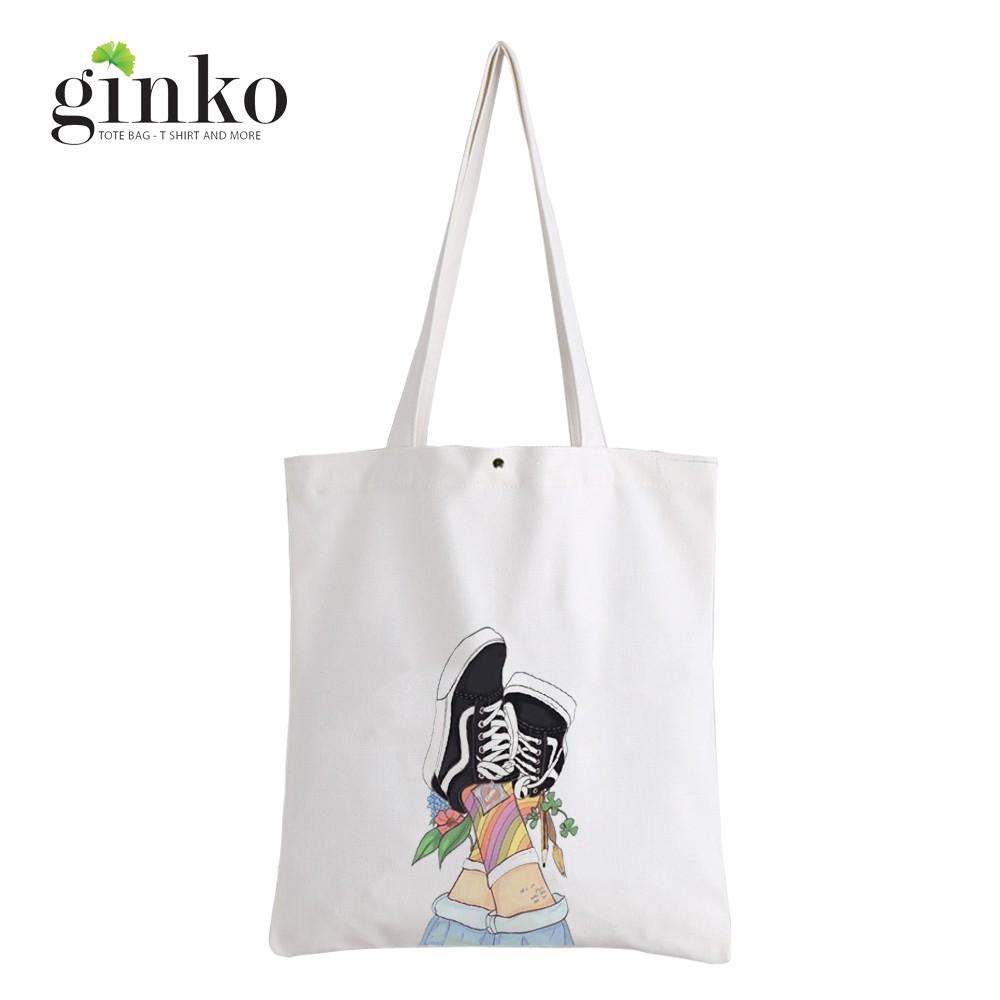 Túi Vải Tote GINKO Kiểu Basic Nút Bấm In Hình Già