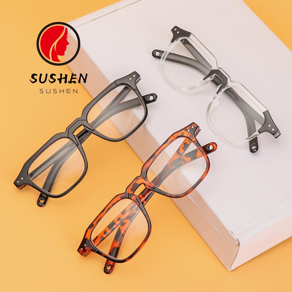 SUSHEN Fashion Myopia Glasses Square Frame Vintage Eyeglasses Optical Eyewear Office Computer Goggles Classic Unisex Vision Care/Multicolor