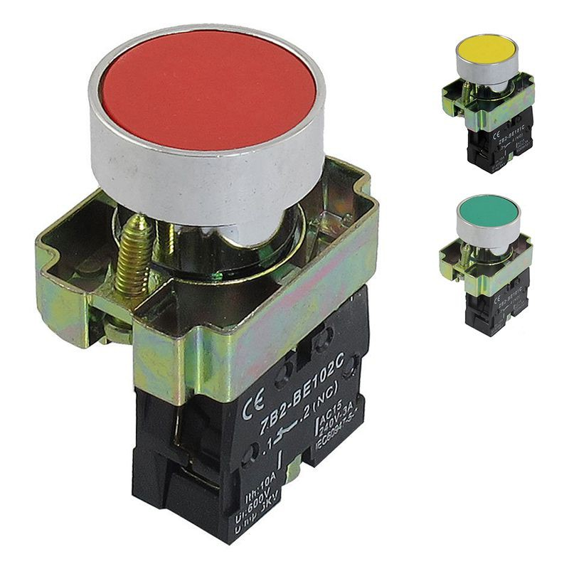 22mm 1 NO N/O Green Sign Momentary Push Button Switch 600V 10A