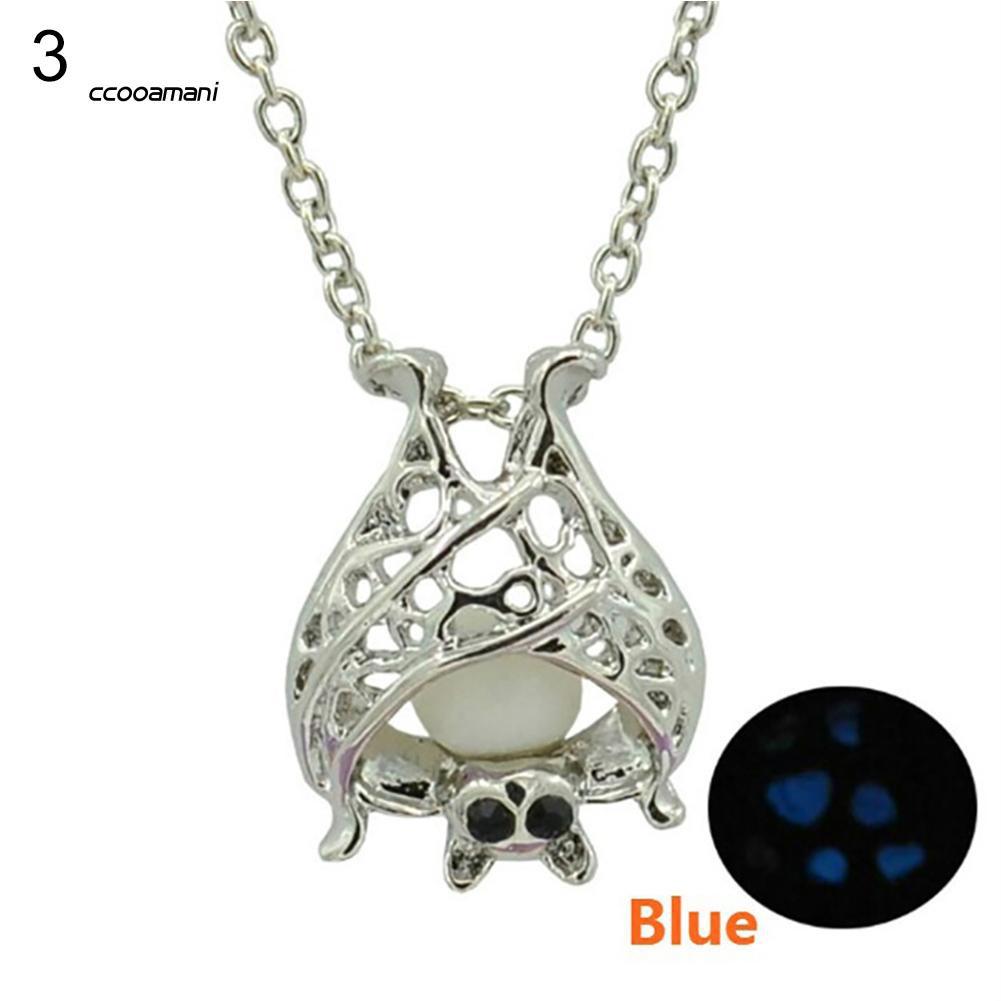 XL-Fashion Hollow Luminous Bat Shape Pendant Necklace Women Jewelry Present