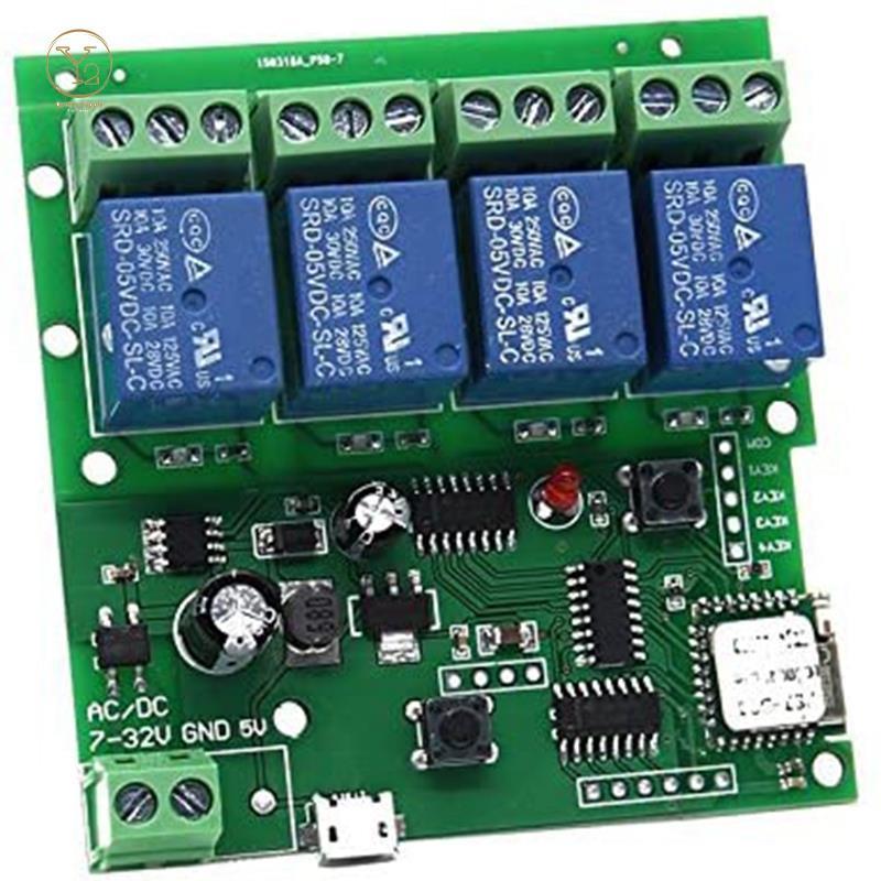 Smart Remote Control 4 Channel WiFi Momentary Inching Relay Self-Lock Switch ule,DIY WiFi Garage Door Controller