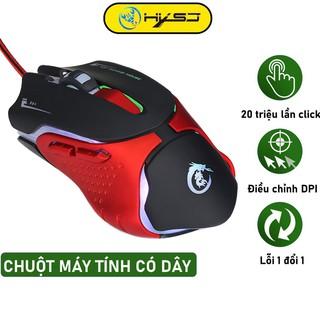 Chuột game thủ chuột có dây HXSJ A903 thiết kế độc lạ led đổi màu 3200DIP, dây USB bọc dù siêu bền chuyên dùng chơi game thumbnail