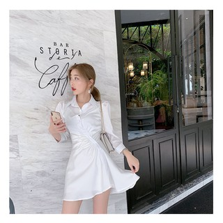 Váy Sơ Mi Lụa xoắn eo kèm quần SM01