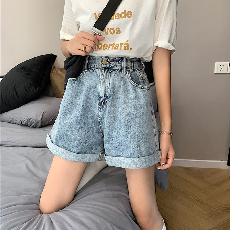 Summer new adjustable high waist was thin rolled wide leg pants washed denim sho