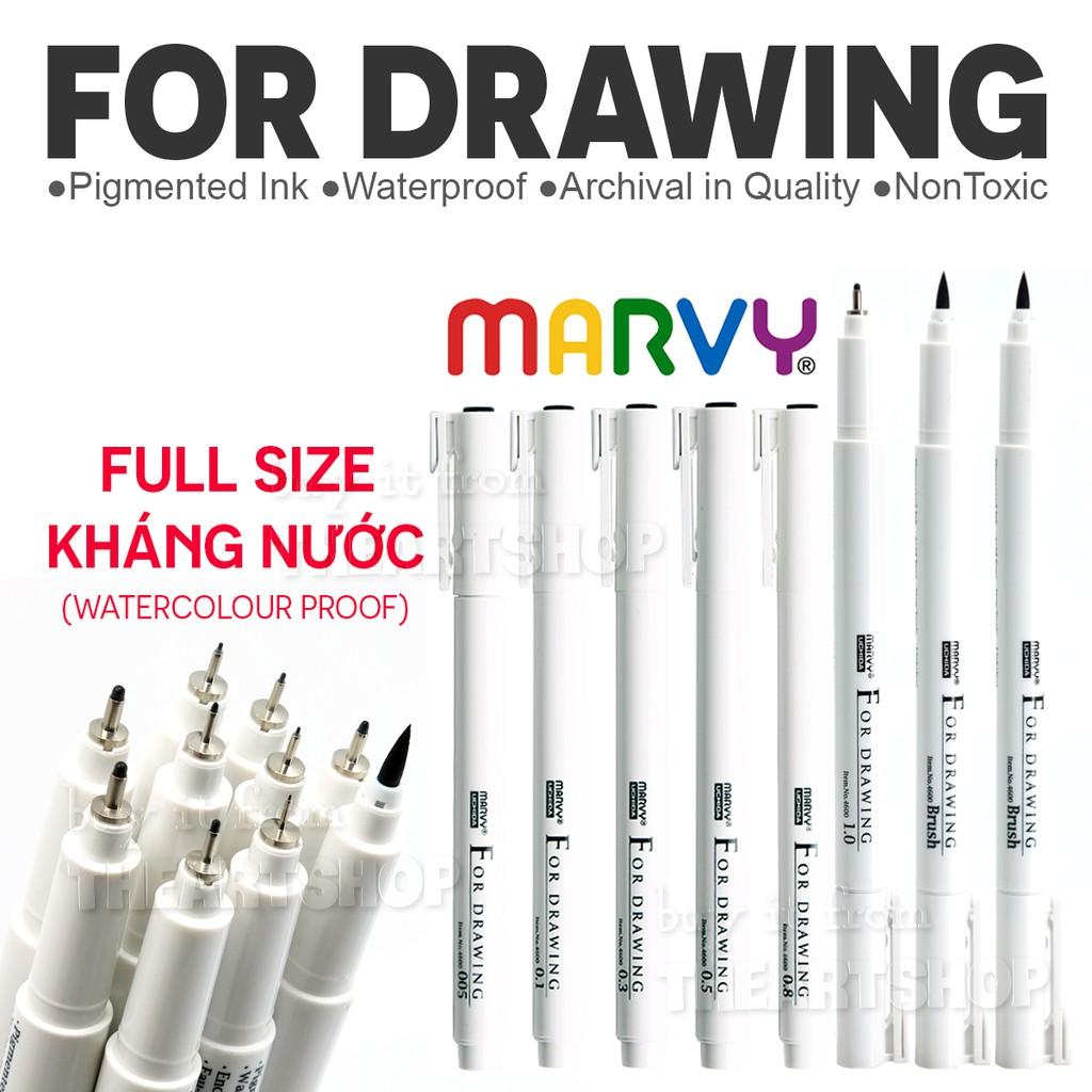 Bút line đi nét chuyên nghiệp Marvy Uchia 4600 từ size 0.03 - size Brush