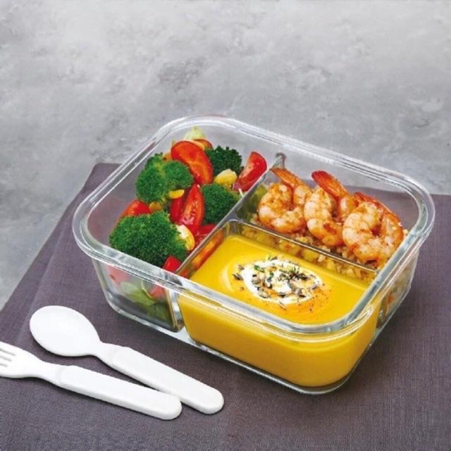 Hộp thuỷ tinh chia ngăn đựng thức ăn